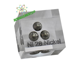 Nickel metal element 28 sample casted in acrylic cube - Nova Elements ©