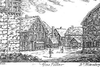 Die Vorgängerkirche zur heutigen in Großvillars, in einem Stich aus dem 19. Jahrhundert