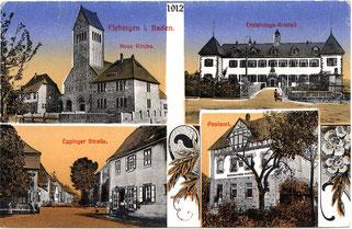 Ansichtskarte von Flehingen-  ca. 1912