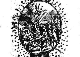 Der Kupferstich vom Martyrium des Hl. Laurentius stammt aus der Barockzeit und wurde einem süddeutschen Heiligenkalender entnommen.