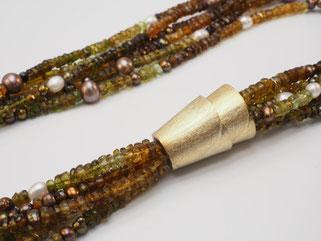 Collier, Turmalin, Perle, Silber