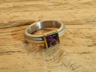 Ring, Rhodolith, Gold, Silber