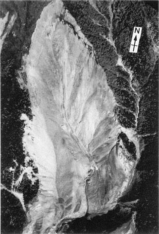 写真1 御嶽崩れ空中写真(Endo et al.,1989)( 撮影:朝日航洋)