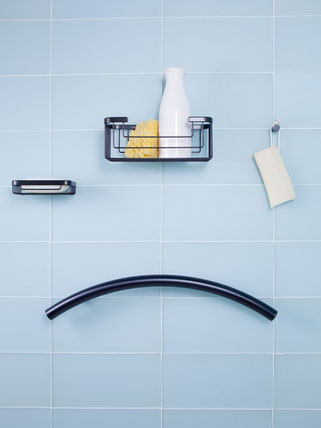 TileWare baskets, hook, and grab bar in oil rubbed bronze.
