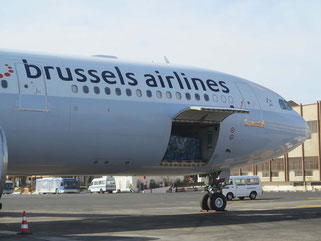 Africa is Brussels Airline Cargo's core market. Pictured here is an Airbus A330 at Dakar Airport, Senegal  -  photo: hs
