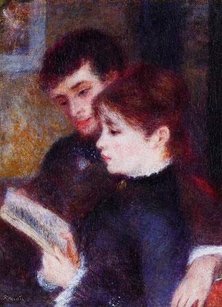 ꧁ Pierre-Auguste Renoir, Edmond Renoir et Marguerite Legrand lisant, 1877 ꧂