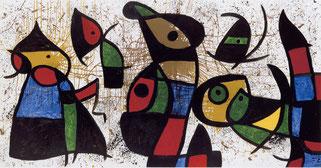 Schirn_Presse_Miro_Figuren__Voegel_1976.jpg Joan Miró, Figuren, Vögel, 28. März 1976 (Personnages, oiseaux, 28 mars 1976), Öl auf Leinwand, 162 x 316 cm, Sammlung Nahmad, Schweiz © Successió Miró / VG Bild-Kunst, Bonn 2016