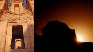 En el solsticio de invierno la luz del sol poniente ilumina el pódium del Monasterio de Petra, desde donde se divisa la silueta de una cabeza de león en las rocas de enfrente./ J. A. Belmonte-A. C. González-García © SINC