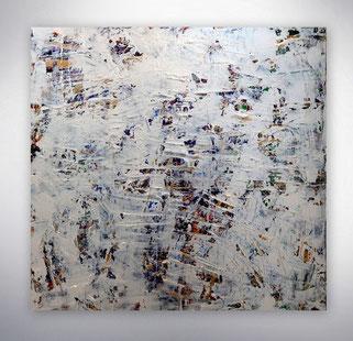 Bild, Gemälde, Silber, Weiß, Bunt,  Original, Unikat,  gespachtelt, Strukturen,