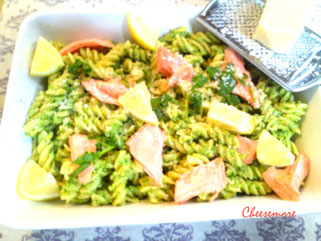 Pea & Watercress Pesto Pasta with Lemony Salmon