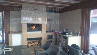 Современная печь барбекю мангал печь для казана камин с индивидуальной облицовкой на остекленной террасе дома