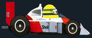 Ayrton Senna by Muneta & Cerracín - McLaren MP4/4 - Honda V6