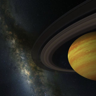 Virtual reality picture of the solar system and the milky way