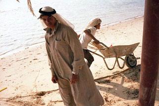 ein stolzer Beduine schaffte die Arbeit an