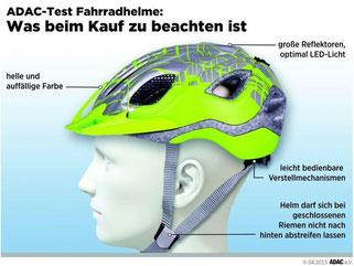 Beim Helmkauf sollten Radfahrer nicht nur auf die Schutzeigenschaften achten. Foto: ADAC