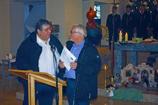 Robert Giavarra, KAB St. Peter (links) und Michael Winter, Bildungshilfe Bottrop-Rwanda