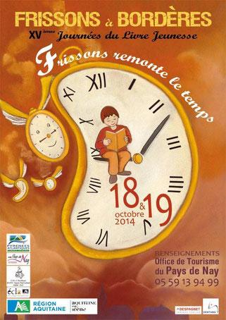affiche des quinzièmes journées du livre jeunesse Frissons à Bordères