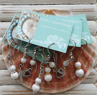 white howlite inspirational earrings handmade in Noosa Australia
