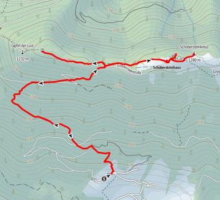 Route vom Parkplatz Schobersteinhaus auf auf Koglerstein und Schoberstein, und zum Schobersteinhaus