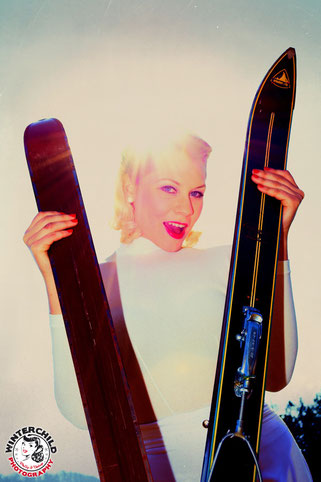 Pin-Up, Vintage Ski, Pin-Up-Girl