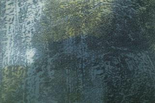 liquid landscape II 2003  Kunstharz. Steinmehl, Ölfarbe auf Leinwand  210 x 140 cm