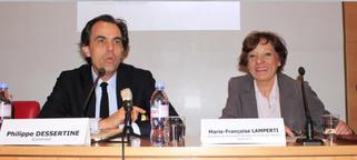 Philippe Dessertine et Marie-Françoise Lamperti à la tribune lors de la conférence