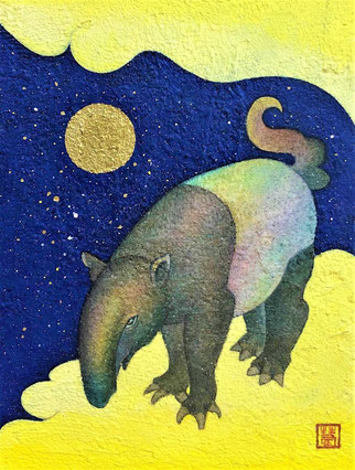 """""""Dream Pillow""""   15.3×12.1 cm  Mica Wall Painting.   Framed."""