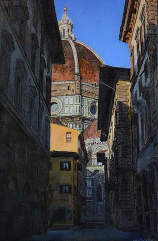 Duomo di Firenze al mattino presto―早朝のフィレンツェの聖堂  45㎝×30㎝  油彩・板