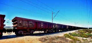 04. April 2014 - Von Namibia nach Kapstadt - Ein Güterzug, ca. 100 Wagen, vier Loki und eine Länge von ca. einem Kilometer