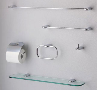 亜鉛合金製カバーの紙巻器とタオル掛け、ガラス棚