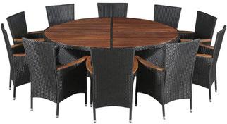 set giardino +acacia +sedie +outdoor +polirattan +10 +tavolo #rattan