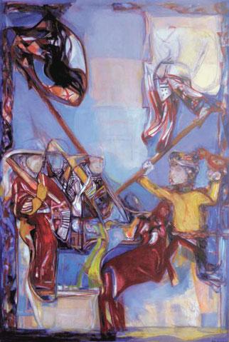 Reiterszene 300 x 200 cm Öl Leinwand 2003