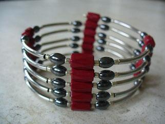 Bijou magnétique avec aimants rouges perles en hématite