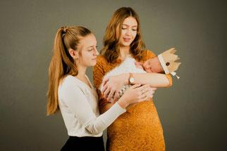 moeder, dochter en baby