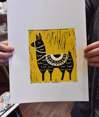 Linocut prints printed at linocut printmaking workshop