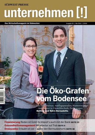 Unternehmen[!]- Magazin mit Mann und Frau