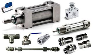 KOMPAUT, gamma di prodotti in acciaio inox AISI 304 e 316. Raccordi a doppia ogiva, innesti a doppia tenuta, cilindri pneumatici, valvole e accessori.