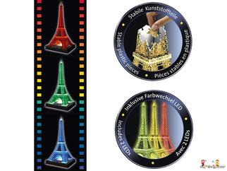 Die Besonderheit im Ravensburger 12556 Puzzle Paket ist, dass Sie einen mit knickbaren Kunststoffteilen Eiffelturm in 3D erstellen können.
