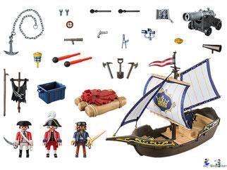 Im Paket Playmobil 6681 ist ein Kanonensegler mit zwei Soldaten und eine Kanone enthalten.