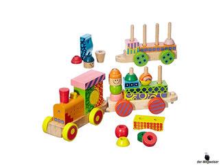 Die Besonderheit im Eichhorn Paket ist, dass der Zug aus 28 Teile besteht und auf verschiedenen Arten zusammengebaut werden kann.
