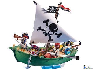 Die Besonderheiten im Playmobil Paket 70151 ist das schwimmfähige Piratenschiff, es verfügt eine schussfähige Kanone mit Munition.