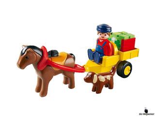 Besonderheiten im Playmobil Paket 6770 ist ein Fuhrwagen mit Mann, Pferd und Hund.