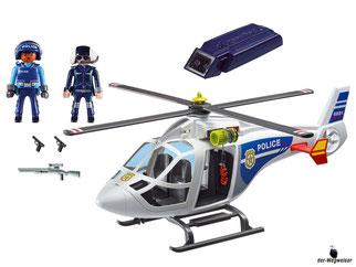 Im Paket Playmobil 6921 ist enthalten ein Helikopter mit zwei Polizisten und viel Zubehör.
