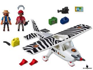 Im Paket Playmobil 6938 ist ein Motorflugzeug mit einem Buschpiloten und einem Fotografen enthalten.