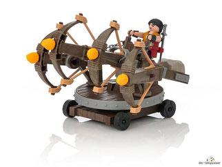 Im Paket Playmobil 9249 sind 55 Einzelteile, 1 Eret, 1 Balliste, 6 Feuergeschosse, 1 Schwert, 1 Dolch 2 Schwertösen enthalten.