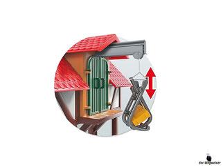 Besonderheiten im Playmobil Paket 6120 sind die fahrbare Melkmaschine, das Pflücken der Äpfel und der Lastenaufzug um die Vorräte auf den Speicher zu transportieren.