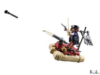 Die Besonderheit im Playmobil Paket 6681 ist der schwimmfähiger Segler mit einer schussfähige Kanone.
