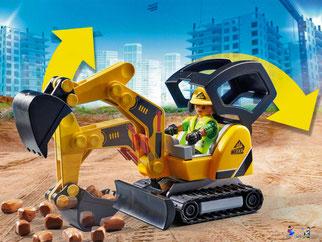 Besonderheiten im Playmobil Paket 70443 ist ein Minibagger mit Kettenantrieb.