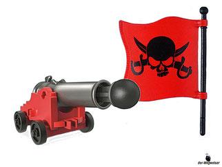 Die Besonderheiten im Playmobil Paket 6678 sind das schwimmfähige Piratenschiff, welches aufrüstbar mit RC-Unterwassermotor 5536 ist und es verfügt eine schussfähige Kanone mit Munition. Das Schiff hat für das Spielen auf dem Boden Rollen.