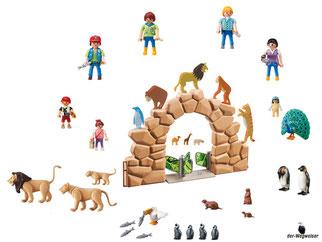 Die Besonderheiten im Playmobil Paket 6634 sind der Zooeingang mit Torbogen, 5 Tierprofile mit Steinfelsen für das Pinguingehege, ein Löwengehege, ein Kassenhaus und viel weiteres nützliches Zoowerkzeug.